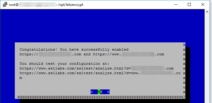 lets encrypt ssl installation success message cloud flare