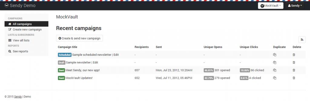 sendy newsletter reports tab