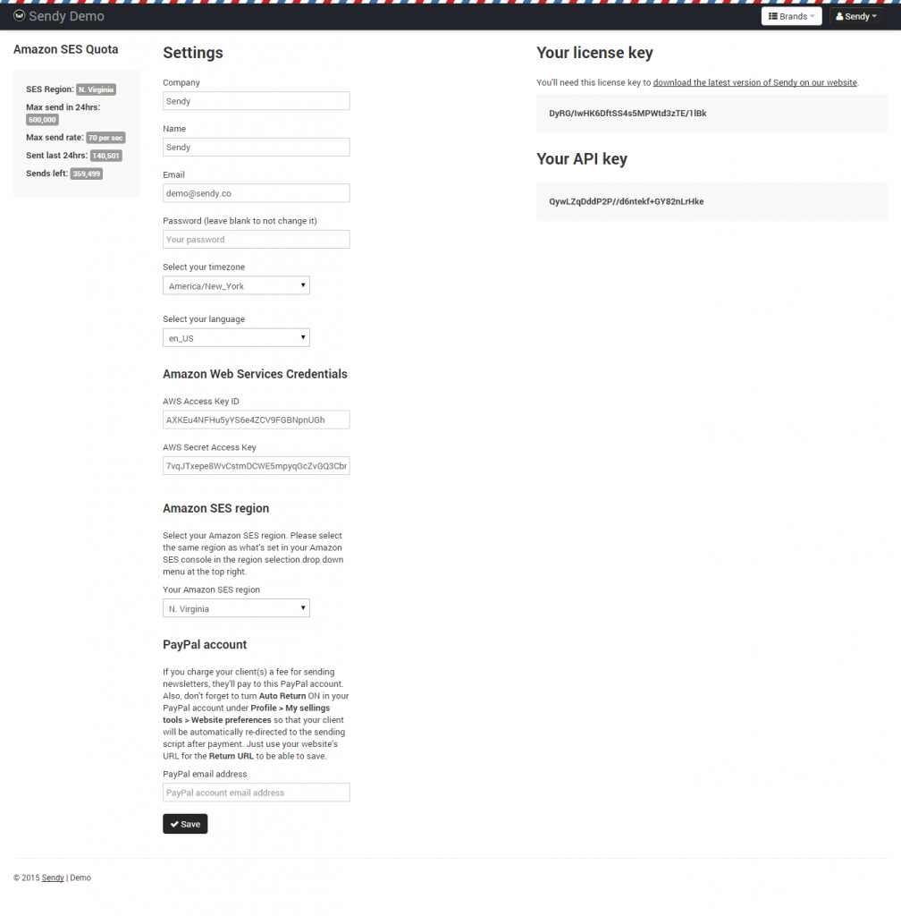 sendy settings page